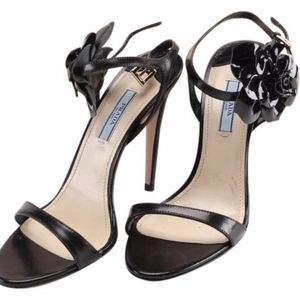 Prada Black Floral Ankle-wrap Sandals
